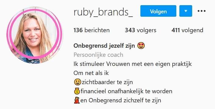 Drieslag in Ruby Brands' Insta-profiel
